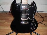 sg/epiphone,gloss black,with chrome hardware,hot