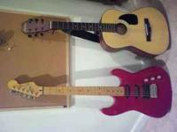 Red electric guitar Squier 2 Stratocaster by FENDER