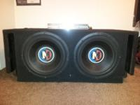 "2 12"" memphis m3 subs in a custom built slot load box"