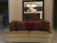 In perfect condition green ultra suede sofa with