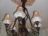 6 silk lamp shades, ceiling medallion custom painted to