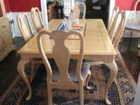 BERNHARDT DINING ROOM SET : 10 CHAIRS, 2 LEAVES ,