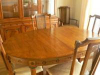 "Empire Style, walnut color, 60"" oval dining room"