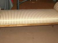Attractive gold and serum strip upholstered bench /