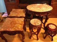 2 Marble elegant end tables with carved flowers made