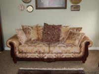 For Sale: Beautiful brocade sofa and loveseat set.