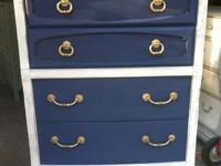 Elegant white and navy chest of drawers lovely gold