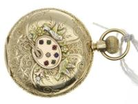 This is a Elgin Lady Elgin Full Hunter Pocket Watch 14k