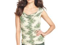 Ellen Tracy's graceful printed top offers a drapey fit