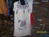 Embroidered Dresses with bright trim, Made in Mexico,