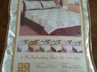 These are brand new 3-piece Embroidery Quilt Sets. 100%