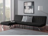 Nicole. Emily Futon with Chaise Lounger, blk good