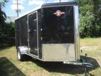 New 6 x 12 single axle enclosed trailer V-nose. Trailer