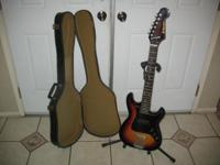 Sunburst guitar plays great. Good for a beginner. Comes