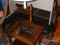 Vintage End/Side table with swing arm lamp and magazine