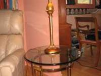 Brass bottom with glass top. 26 1/2 x 23 x 22 H.