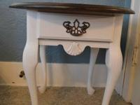 Refinished end table with a stained top and painted
