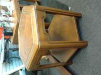 2 LIGHT WOOD END TABLES, 1-RECTANGULAR & 1-6 SIDED.
