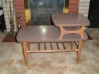 Very cute two-level end table, mid-century mod style.