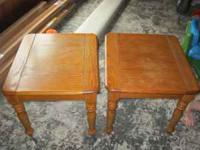 Set of two end tables, in good condition, a little wear