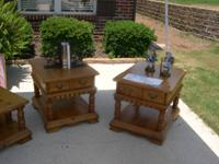 Strong wood end tables and matching coffee table.