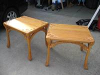 2 oak end tables,  $40 each 2 marble top end tables,