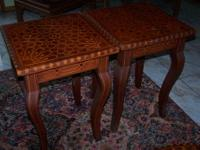 "2 END TABLES.....INLAID WOOD......16 1/2"" SQUARE X 23"