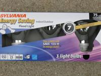 Sylvania Energy Saving Indoor Flood Lights - 3 pack.