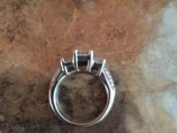 14kt white gold 3 stone engagement ring. 1kt total