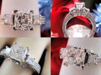 ENGAGEMENT RING PLATINUM PRINCESS CUT 2.03PTS W/