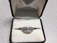 Wedding event band and Engagement ring for sale. White