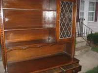 selling oak country cupboard / china display cabinet