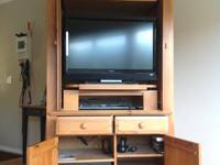 "Large solid wood tv cabinet with storage. 21x41x82""."