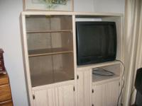 White Wash Wood entertainment cabinet with lots of