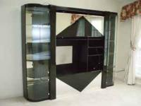 Entertainment Center, Black with Glass and Mirrors.