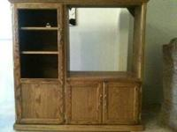 Solid oak entertainment center $40.00 Obo in good