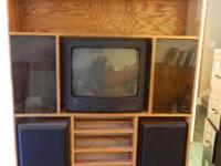 "Handmade Oak Entertainment Center - 57"" wide x 6' tall"