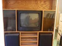 """Handmade Oak Entertainment Center - 57"""" wide x 6' tall"""