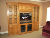"Custom Built Solid Oak Entertainment Center. 100"" Wide"