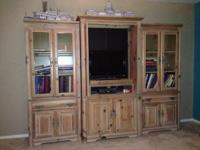 Plenty of storage.  All wood.  Makes any room look