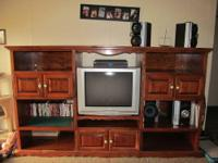 Large Custom made Entertainment Center Made of Cypress.