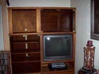 VINTAGE SOLID OAK (LIGHT) WALL UNIT, FROM THE EARLY