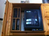 Oak Finish Entertainment Center - 2 Glass Doors to left