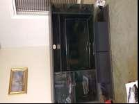 Black Entertainment Center with Side Glass doors in