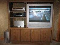 Very Sturdy large entertainment center with Sanyo TV