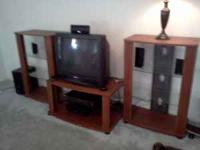 Two Entertainment Towers with glass shelves One TV