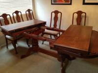 "Table: Hampshire - carved trestle table 42""w x 62""l"