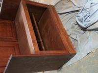 Refurbished from an old top cabinet Has a shelf in the