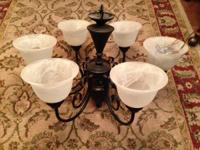 For Sale:.  (1) Oil-rubbed bronze, 6 light chandelier.