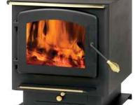 High efficiency wood stove. Large fire box, Glass door.